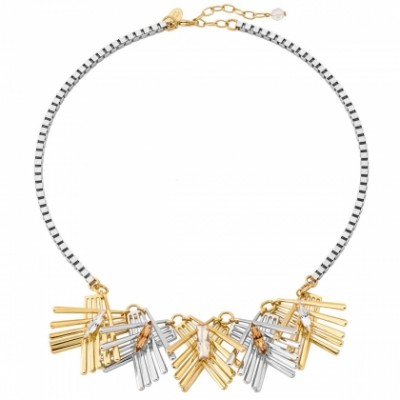 Multi fan shape crystal cluster necklace