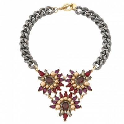 Triple floral motif crystal cluster necklace