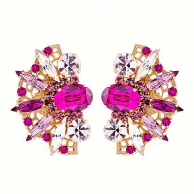 Fan shape crystal cluster fuchsia earrings