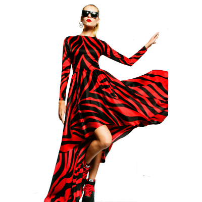 Red zebra long dress